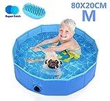 Pecute Hundepool Schwimmbad Für Hunde und Katzen Swimmingpool Hund Planschbecken Hundebadewanne Faltbarer Pool Für Kinder Den Hund Katze Geschenk - Haustier Badebürste,S (80*20cm)