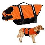 Warmiehomy Hundeschwimmweste Schwimmweste für Hund Reflektierend Rettungswesten Schwimmtraining für Hunde/Haustiere Sommer Badebekleidung Float Coat für Haustiere, Orange, M