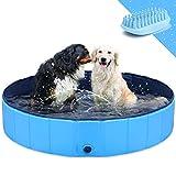 GoStock Hundepool Schwimmbecken Faltbarer Hund Planschbecken Swimmingpool Kinderpool Hundebadewanne Doggy Pool für Großes Haustier Hund Katze Kinder PVC rutschfest (Bonus Haustier Badebürste) 32'x8'