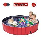 femor Hundepool Swimmingpool Für Hunde und Katzen Schwimmbecken Hund Planschbecken Hundebadewanne Faltbarer Pool mit PVC-rutschfest Verschleißfest Für Kinder Hund Katze Geschenk(120 * 30cm)